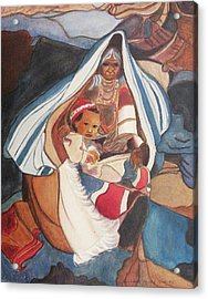 Tibetan Grandmother And Baby Acrylic Print by Suzanne  Marie Leclair
