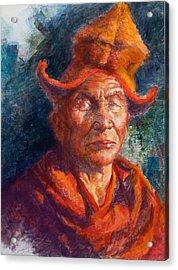 Tibetan Monk Acrylic Print by Ellen Dreibelbis
