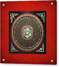 Tibetan Om Mantra Mandala In Gold On Black And Red Acrylic Print