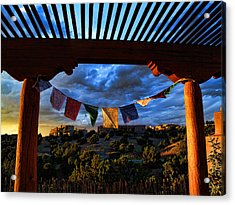 Acrylic Print featuring the photograph Tibetan Prayer Flags Outside My Office At Sundown by Paul Cutright