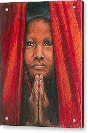 Tibetan Prayer Acrylic Print by Linda Nielsen