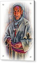 Tibetan Refugee - Vignette Acrylic Print by Steve Harrington