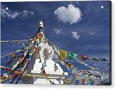 Tibetan Stupa With Prayer Flags Acrylic Print