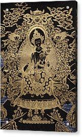 Tibetan Thangka  - Maitreya Buddha Acrylic Print by Serge Averbukh