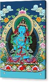 Tibetan Thangka  - Vajradhara -  Dharmakaya Buddha Acrylic Print by Serge Averbukh