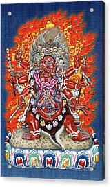Tibetan Thangka  - Wrathful Deity Hayagriva Acrylic Print by Serge Averbukh