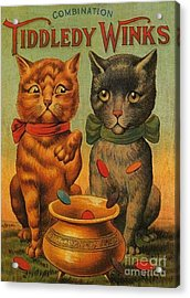 Tiddledy Winks Funny Victorian Cats Acrylic Print by Peter Gumaer Ogden Collection