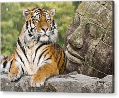 Tiger And Buddha Acrylic Print by Kathie Miller