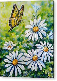 Tiger And Daisies  Acrylic Print