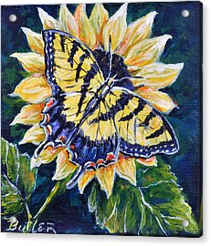 Tiger And Sunflower Acrylic Print by Gail Butler