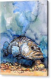 Acrylic Print featuring the painting Tiger Grouper by Terry Banderas