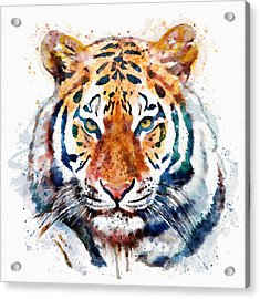Tiger Head Watercolor Acrylic Print by Marian Voicu