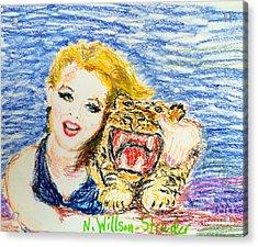 Tiger Hug Acrylic Print by N Willson-Strader
