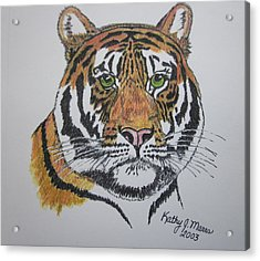 Acrylic Print featuring the painting Tiger by Kathy Marrs Chandler