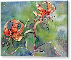 Acrylic Print featuring the painting Tiger Lilies by Mindy Newman