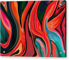Tiger Lily Abstract Acrylic Print by Linnea Tober