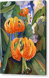 Acrylic Print featuring the painting Tiger Lily Parachutes by Nancy Watson
