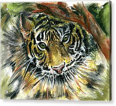 Acrylic Print featuring the painting Tiger by Marilyn Barton