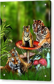 Tiger Toadstools Acrylic Print by Julie L Hoddinott