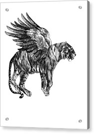 Tiger With Wings, Black And White Illustration Acrylic Print