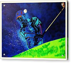 Tiger Woods-playing In The Sandbox Acrylic Print