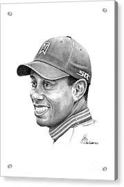 Tiger Woods Smile Acrylic Print by Murphy Elliott