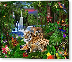 Tigers Of The Forest Acrylic Print by Gerald Newton