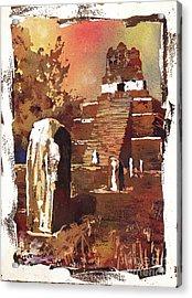 Acrylic Print featuring the painting Tikal Mayan Ruins- Guatemala by Ryan Fox