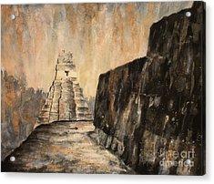 Acrylic Print featuring the painting Tikal Ruins- Guatemala by Ryan Fox