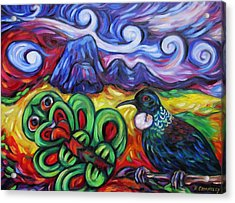 Acrylic Print featuring the painting Tiki And Tui Under Mount Taratara by Dianne  Connolly