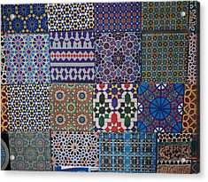Tiles For Sale In Market, Essaouira Acrylic Print by Panoramic Images