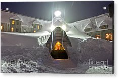 Timberline Lodge Entry Mt Hood Snowdrifts Acrylic Print by Dustin K Ryan
