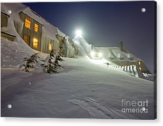 Timberline Lodge Mt Hood Snow Drifts At Night Acrylic Print