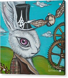 Time Flies For The White Rabbit Acrylic Print by Jaz Higgins