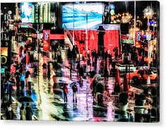 Time Square In The Rain Acrylic Print