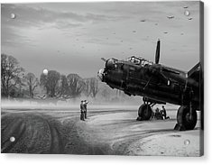 Acrylic Print featuring the photograph Time To Go - Lancasters On Dispersal Bw Version by Gary Eason