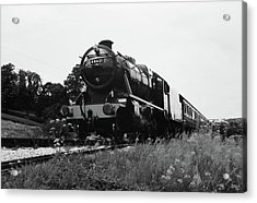 Acrylic Print featuring the photograph Time Travel By Steam B/w by Martin Howard