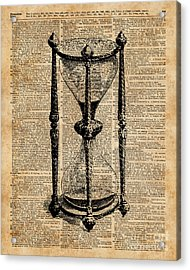Time,antique Hourglass,sandglas Vintage Dictionary Art Acrylic Print by Jacob Kuch