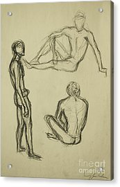 Acrylic Print featuring the drawing Timed Gestures Exercise by Angelique Bowman