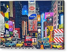 Times Square Acrylic Print by Autumn Leaves Art