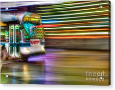Times Square Bus Acrylic Print by Clarence Holmes
