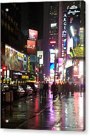 Times Square In The Rain 1 Acrylic Print by Anita Burgermeister