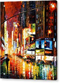 Times Square Acrylic Print by Leonid Afremov