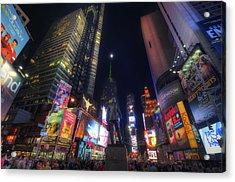 Times Square Moonlight Acrylic Print by Yhun Suarez