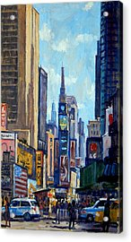 Times Square Morning New York City Acrylic Print by Thor Wickstrom
