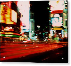 Times Square Painted Acrylic Print by Brad Rickerby
