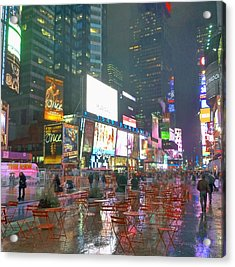 Times Square Red Rain Acrylic Print