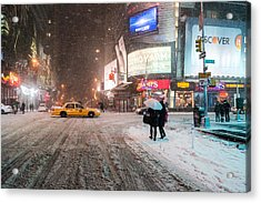 Times Square Snow - Winter In New York City Acrylic Print by Vivienne Gucwa