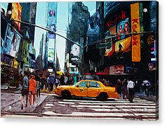 Times Square Taxi- Art By Linda Woods Acrylic Print