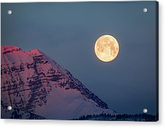 Acrylic Print featuring the photograph Timpanogos With The Pink Moon. by Johnny Adolphson